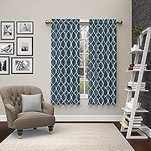 "Pairs to Go Vickery 2 Pack Window Curtains, 63"", Indigo"