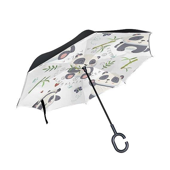 ... viento doble capa construcción reversa plegable paraguas para coche lluvia uso al aire libre, mango en forma de C autosoporte Vector Cartoon Panda Set ...