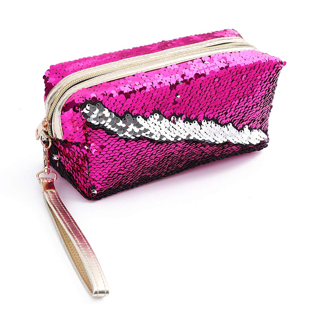 Mermaid Sequin Cosmetic Bag Magic Sequins Makeup Pouch Fashion Color Changing Makeup Bags DIY Reversible Sequins Handbag Glitter Pencil Case - Haboom (Rose Red)