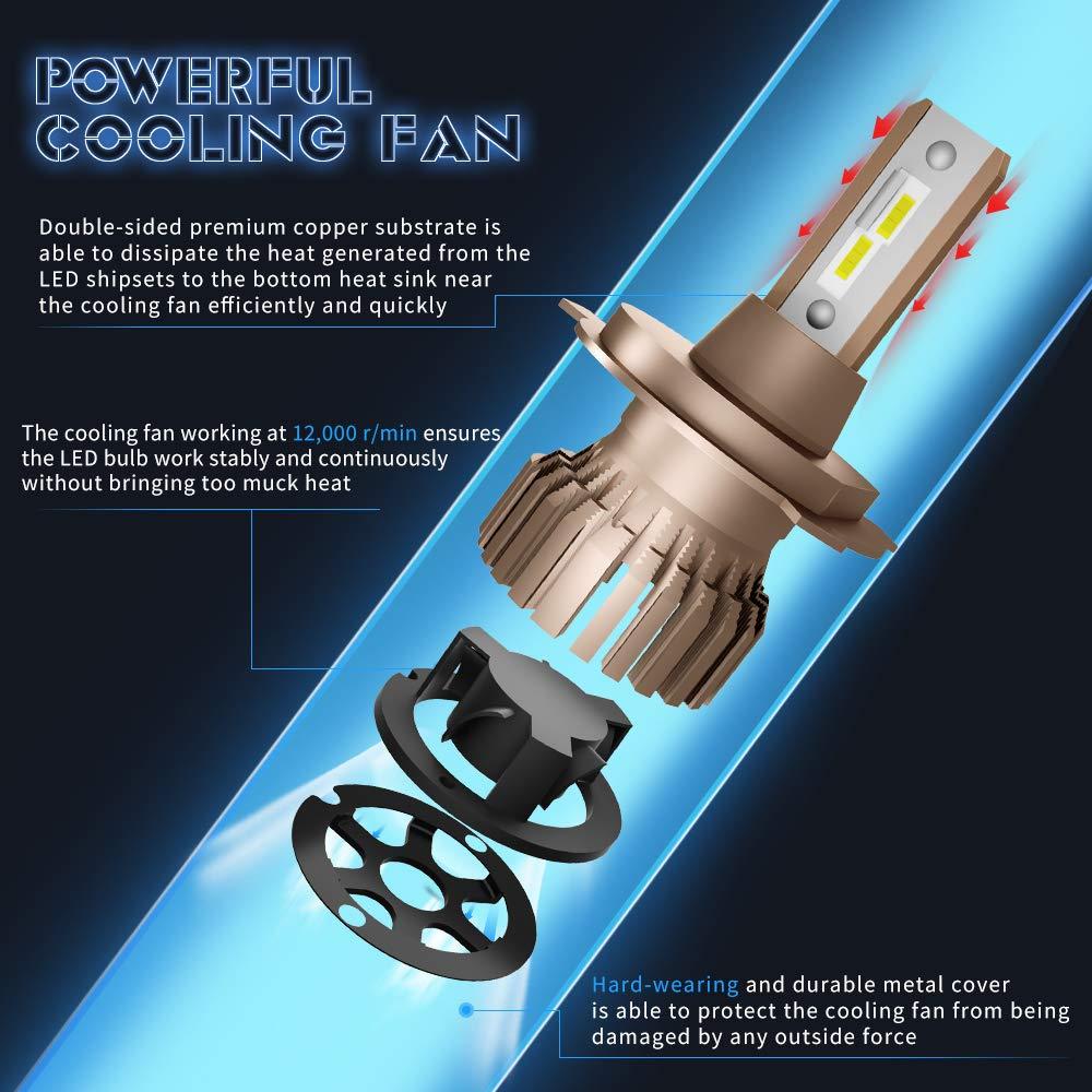 2 Pi/èces Ampoule H7 LED 10800LM 6000K Phares pour Voiture et Moto
