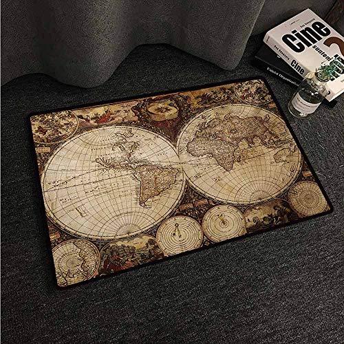 HCCJLCKS Outdoor Doormat World Map Old World Map Drawn in 1720s Nostalgic Style Art Historical Atlas Vintage Design Machine wash/Non-Slip W16 xL24 Multicolor