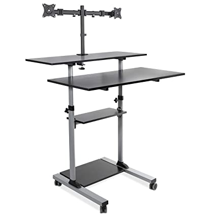wholesale dealer a5929 389f4 Mount-It! Extra Wide Mobile Standing Desk with Dual Monitor Mount - 40 Inch  Wide Height Adjustable Rolling Computer Workstation with Four Wheels