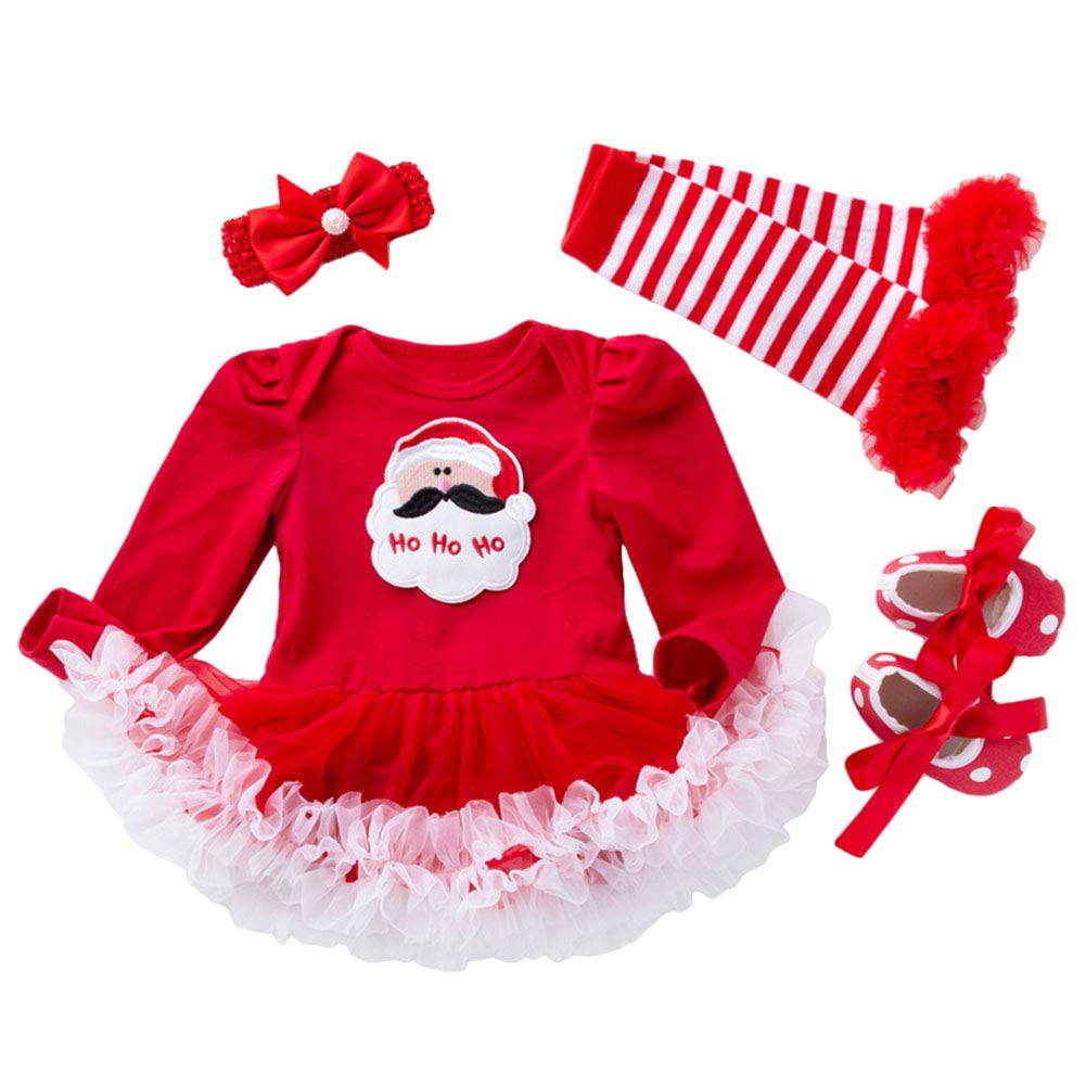My First Christmas Outfits Baby Girl Tutu Romper Dress with Hat and Leg Warmer Sets 4Pcs