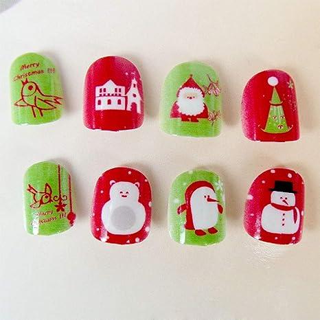SJTL Navidad Halloween Niño Adhesivo Uñas Postizas Dibujos ...