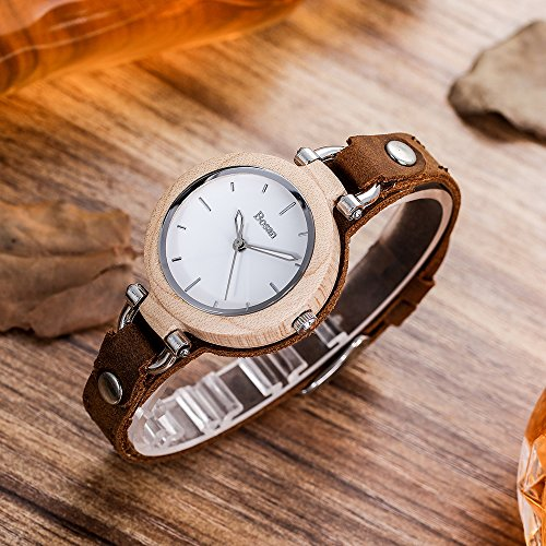 Wood Watch,Bosan Women Stylish CD Line Small Face Unique Design Wooden Wrist Watch with Light Genuine Leather Strap(Maple) by Bosan (Image #1)