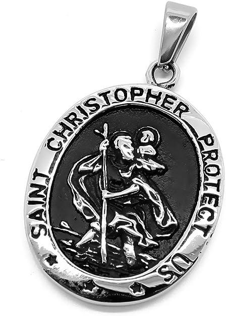 BOBIJOO Jewelry Pendentif Collier Homme Saint Christophe Patron des Voyageurs 25mm Cha/îne 55cm Dor/é Or Plaqu/é
