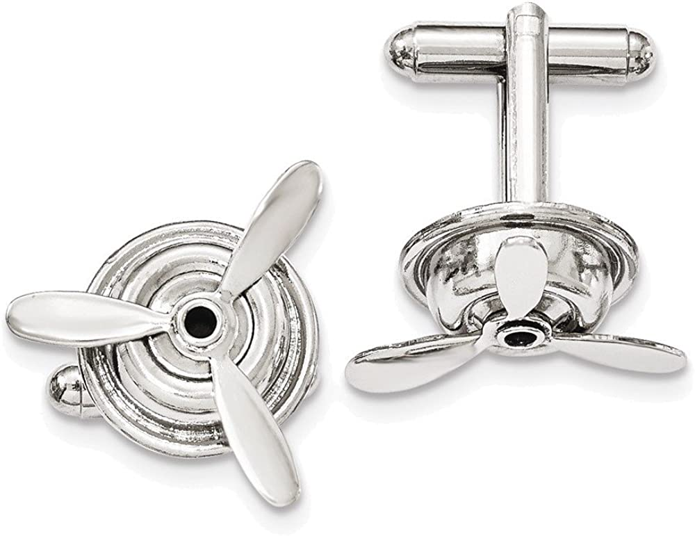 Silver-tone Polished Moveable Propeller Cuff Links