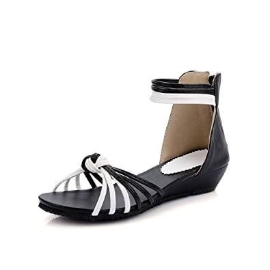 d65a42bc46f263 WeenFashion Women s Soft Material Zipper Open Toe Low-Heels Assorted Color  Wedges-Sandals