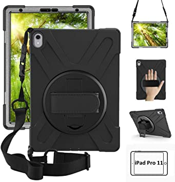 For iPad Pro 11 inch 2018 Case 360 Rotating Grip Stand Shockproof Rugged Cover
