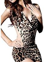 V- cou Halter Backless Leopard One Piece Dress de Lingerie Nuisette sexy Femmes