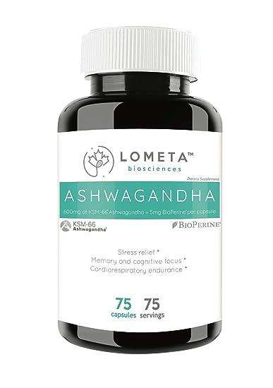 Lometa Biosciences KSM-66 600Mg Ashwagandha High Potency 5% Withanolides  Organic Root