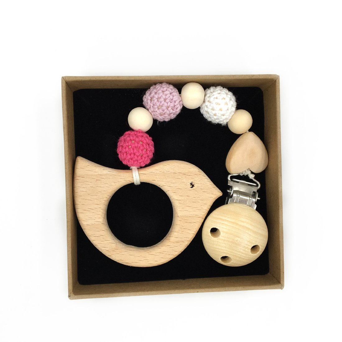 Amyster Wood Pacifier Clip Pendant Nature Wooden Teething Chewable Safe Holder Infant Gift Unisex Teething Clip Toys