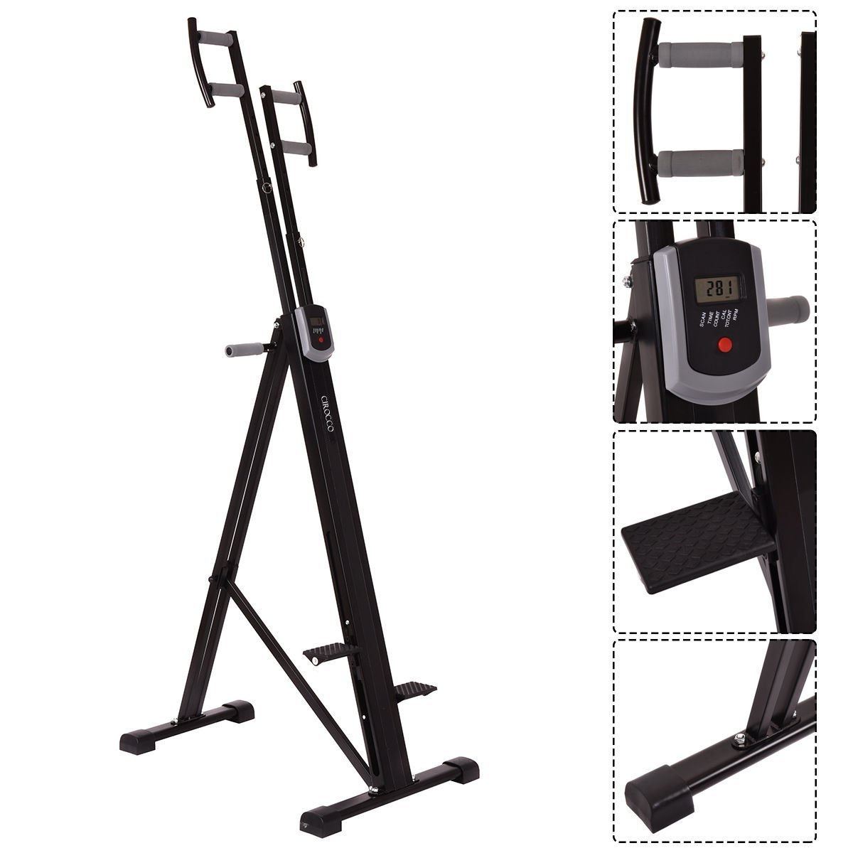 Cirocco Folding Stair Stepper Vertical Climber Exercise Cardio Machine w/ LCD Display | Strong Sturdy Total Full Body Aerobic Anaerobic Workout Fitness Equipment for Calorie Fat Burn Leg Bicep Triceps