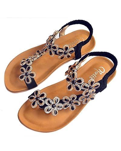 Womens Ladies Diamante Jelly Sandals Summer Beach Flip Flops Toe Post Shoes Size VJ_7373