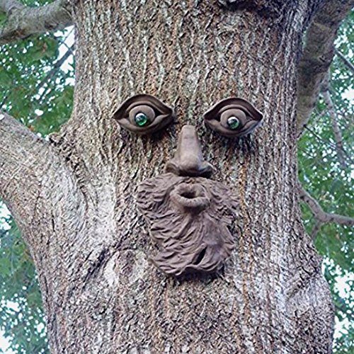 Vilight Tree Forest Face Plaque Outdoor Tree Trunk Decoration - Unique Funny Gift of Sculpture and Ornament for Garden Yard Prime (People Sculptures)