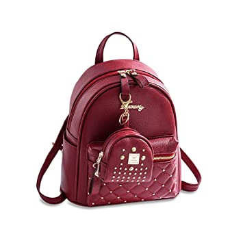 d829073c2fed Cute Small Backpack Mini Purse Casual Daypacks Leather for Teen and Women  Wine Red