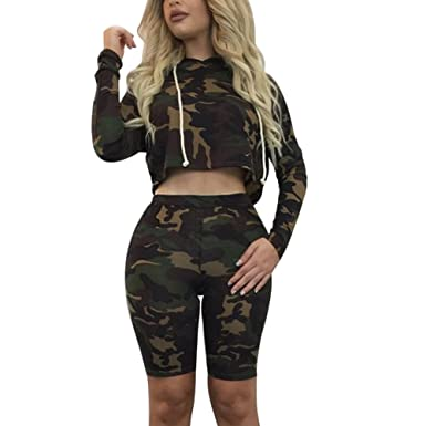 1753c6af2 Amazon.com: CHICFOR Womens Long Sleeve Hoodie Crop Tops and Burmuda Shorts  Two Pieces Set Camouflage Hoodie Sets Outfits Jumpsuit: Clothing