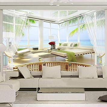 Murales Papel Pintado,Balcón Con Vistas Al Mar Estéreo Personalizar 4D Wallpaper Decoración De Pared Art Póster De Impresión Hd Para El Sofá De La Sala Como Telón De Fondo La Decoración Mural: