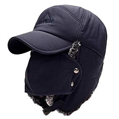 d6822dc02d49c Men s Winter Warm Trapper Hat Ear Protection Bomber Cap Thicken Balaclava Warm  Russian Hat with Mask
