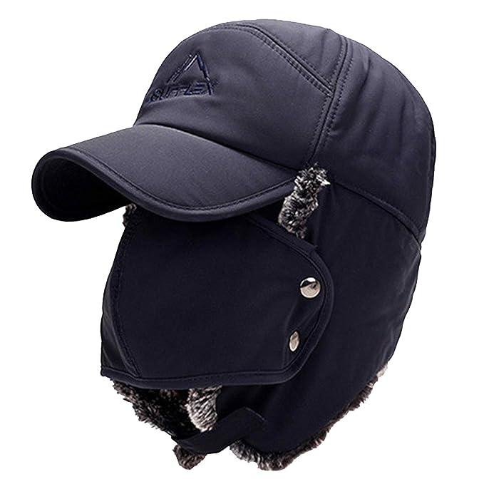 Kata Cappello Invernale da Uomo Protezione Auricolare Viso Bomber Hat  Addensare Balaclava Caldo Cappello Russo con 937b5ea43961