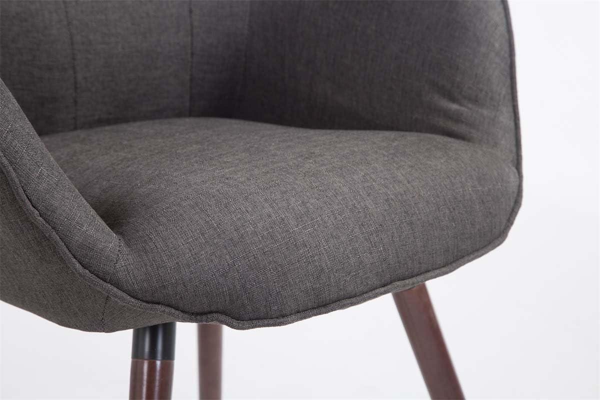 Belastbarkeit bis 160 kg Dunkelgrau Konferenzstuhl mit sesself/örmigem Sitz und Gestell aus Eichenholz CLP Retrostuhl Aalborg mit Stoffbezug Max Holzgestell Farbe: Walnuss