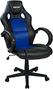 Merax Cobra Series Executive Home Office Racing Style PU Leather Mesh Bucket Seat Swivel Computer Gaming Chair(Blue)