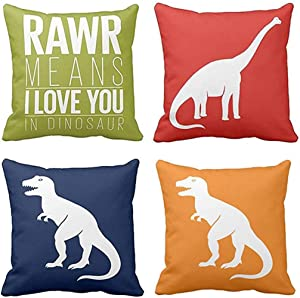 Emvency Set of 4 Throw Pillow Covers Dinosaur Tyrannosaurus in Rawr Brachiosaurus Red Navy Blue Prehistoric Paleontologist Decorative Pillow Cases Boys Room Home Decor Square 16x16 Inches Pillowcases