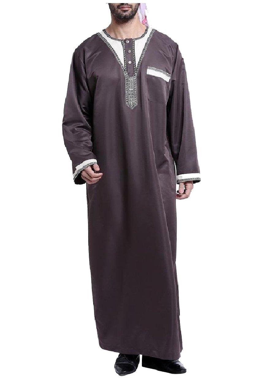 Zimaes Men's Crew Neck Splice Islamic Saudi Arabia Arab Muslim Thobe Coffee S