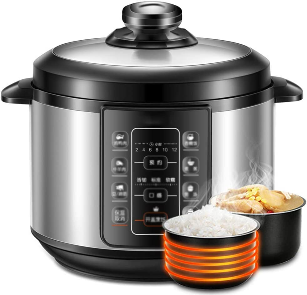 ZBQ Electric Pressure Cooker, 5 Litre, Slow Cooker, Programmable Pressure Cooker, Brushed Stainless Steel, Large Screen Control Panel Pressure Cooker