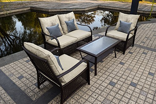Sol Siesta Outdoor Furniture, Clubhouse Collection, 4 Piece Conversation Set, Patio Resin Wicker, Leaves - Functional - ideal for patio, porch, Poolside or garden. Removable cushion covers for easy cleaning Comfortable - marine canvas cushions with poly fill provide a soft yet supportive seat. Backrest is designed at a relaxing ergonomic angle Durable - hand welded Steel Tubing frame. Virgin resin wicker won't splinter or rot in extreme temperatures. UV, stain & mildew resistant marine canvas cushions - patio-furniture, patio, conversation-sets - 61gZORVrw1L -