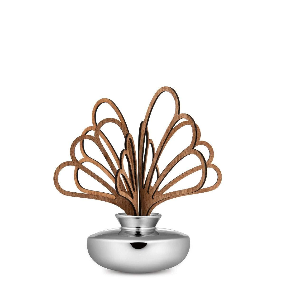 Alessi Uhhh Diffusore a Foglia per Ambiente Porcellana Legno di Mogano 11 x 32 x 15 Argento