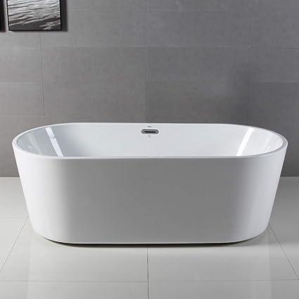 Merveilleux FerdY 67u0027u0027 Freestanding Bathtub, White Modern Stand Alone Bathtub Soaking  Bathtub, Drain U0026 Overflow Assembly Included     Amazon.com