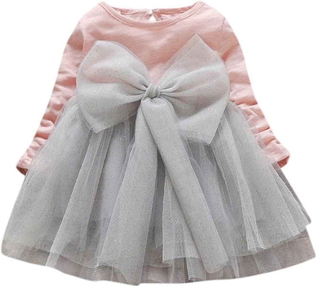 K-youth® Vestido Bebe Niña, Invierno Gran Bowknot tutú Ropa Bebe Niña Manga Larga Princesa Vestidos Niña Fiesta para 6 Meses a 3 años