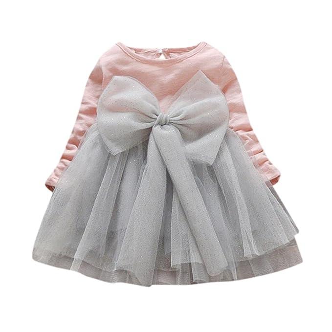 1a0e80a055a5 Vestido Bebe Niña, K-youth® Invierno gran bowknot tutú Ropa Bebe Niña Manga  Larga Princesa Vestidos Niña Fiesta Para 6 meses a 3 años: Amazon.es: Ropa  y ...