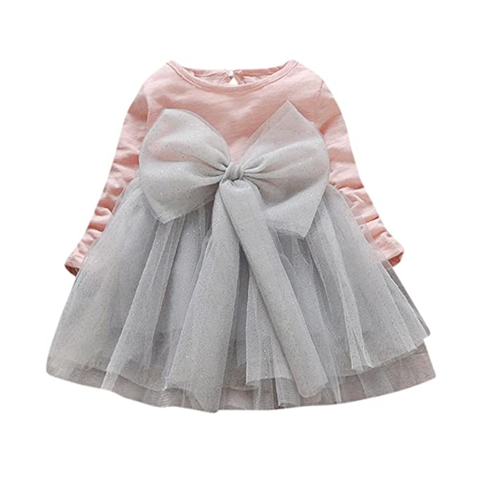 Vestido Bebe Niña, K-youth® Invierno gran bowknot tutú Ropa Bebe Niña Manga