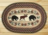 Earth Rugs 65-043BM Op-Bear/Moose Design Braided Rug, 20″ x 30″, Burgundy/Blue/Gray For Sale