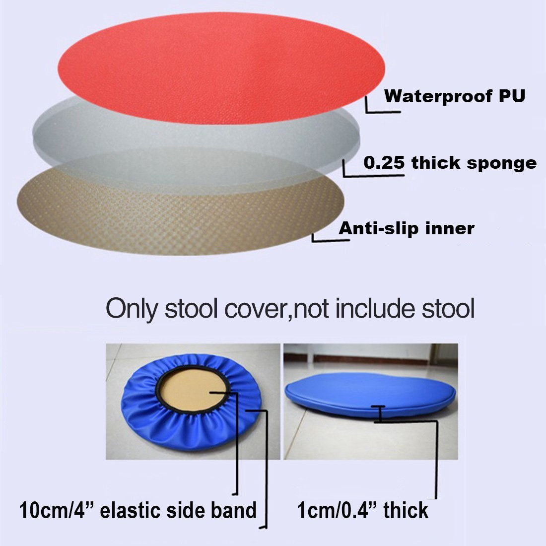 Sigmat 2pc 16 Inch Waterproof Pu Bar Stool Cover Anti Slip