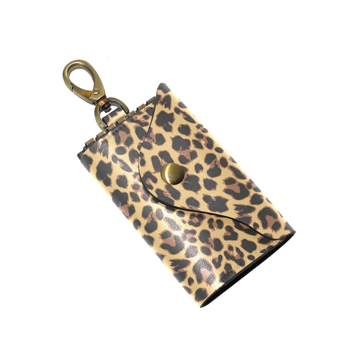 KEAKIA Leopard Pattern Design Leather Key Case Wallets Tri-fold Key Holder Keychains with 6 Hooks 2 Slot Snap Closure for Men Women