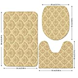 3 Piece Bathroom Mat Set,Beige,Regular-Damask-Patterns-Ornate-Antique-Lace-Floral-Patterns-Oriental-Style-Design-Art,Beige.jpg,Bath Mat,Bathroom Carpet Rug,Non-Slip