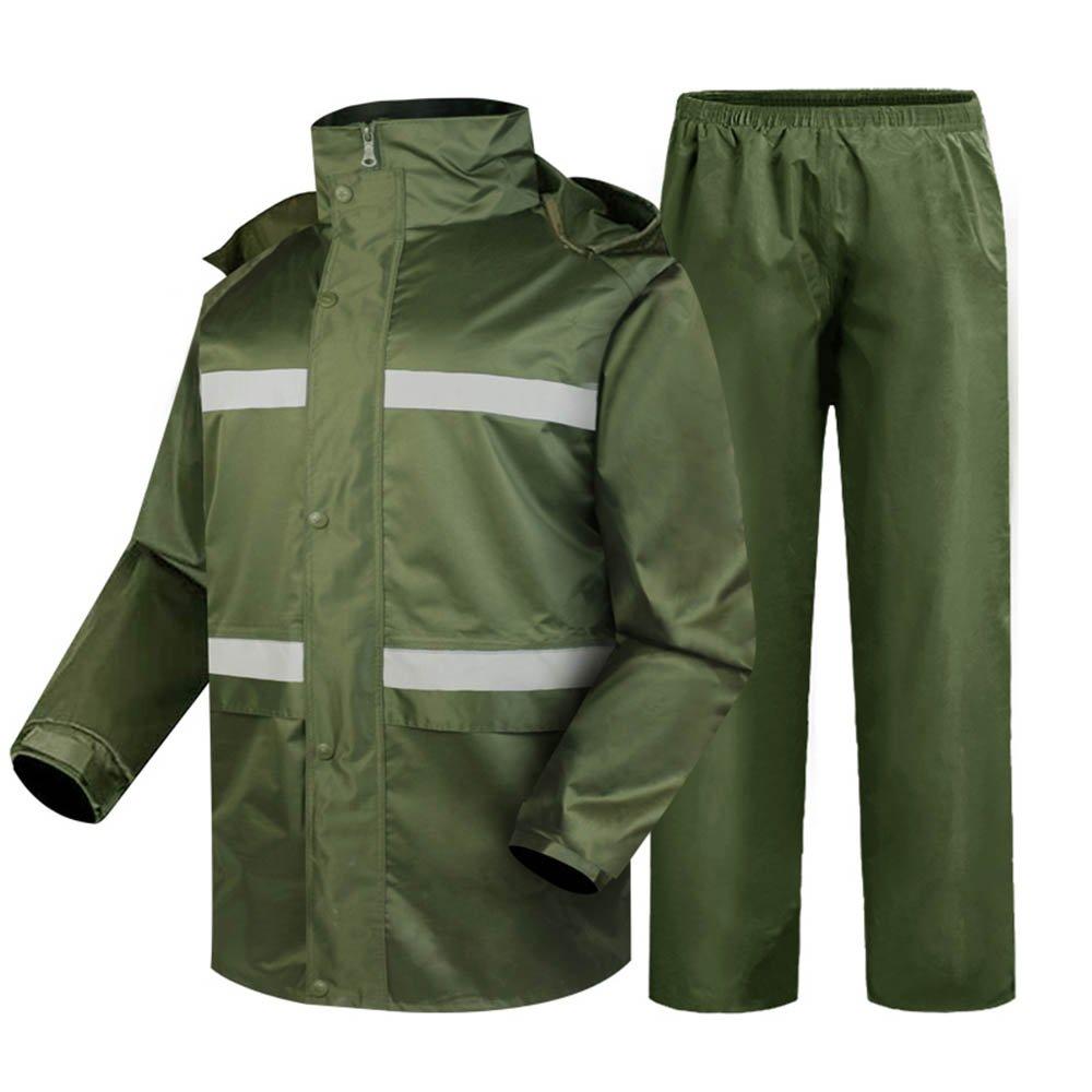 XXXXL DRHYSFSA VêteHommests de Pluie Léger portatif de Sauvetage de Costume imperméable extérieur d'équitation imperméable Fendu Vert Militaire de Division Imperméable extérieur (Taille   XL)