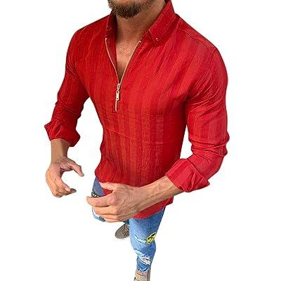 LEXUPA Men's Long Sleeve Shirt Men Striped Long Sleeve Zipper Shirts Male Casual Business Fit Blouse Slim Top at Men's Clothing store