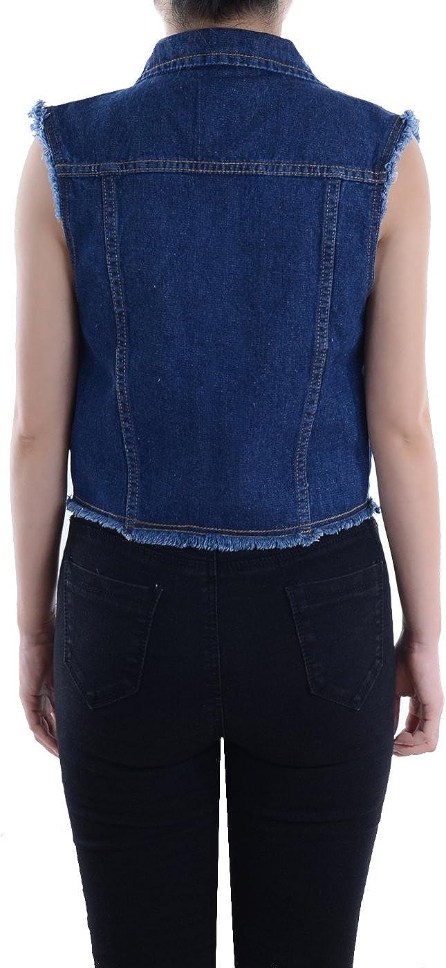 Anna-Kaci Damen Blau Denim Distressed ausgefranst Button Up /ärmellos Jeans Jacke Weste