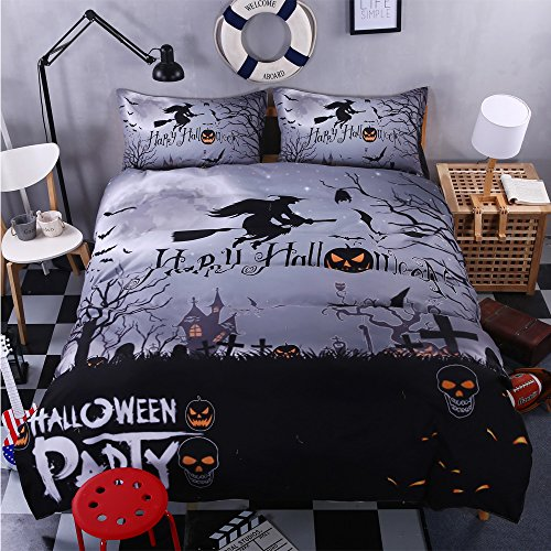 BOMCOM 3D Digital Printing Witch Flying in Full Moon Night Sky over Graveyard 3-Piece Duvet Cover Sets 100% Microfiber Moonlight Gray (full, Happy Halloween (Halloween Dot To Dot Sheets)