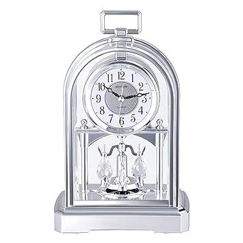 Relojes de mesa Reloj de Escritorio silencioso Dorado Retro Movimiento de Cuarzo no silencioso HD Vidrio Dormitorio Sala (Color : B): Amazon.es: Hogar
