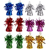 Juvale Set of 12 Balloon Weights - Foil Tinsel Balloon Weights for Kids Birthday Party Supplies, Superhero Party Supplies, 6 Assorted Colors - 2.5 x 3.5 Inches