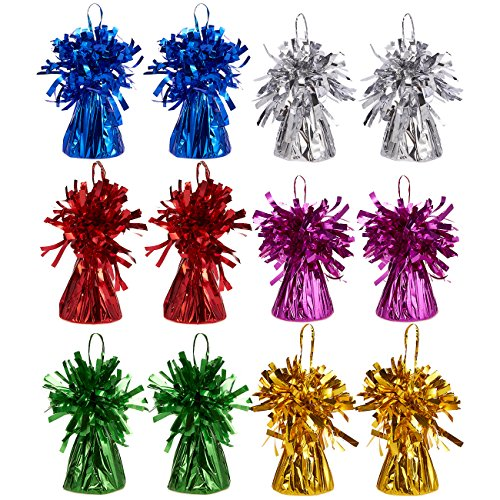 Juvale Set of 12 Balloon Weights - Foil Tinsel Balloon Weights for Kids Birthday Party Supplies, Superhero Party Supplies, 6 Assorted Colors - 2.5 x 3.5 Inches -