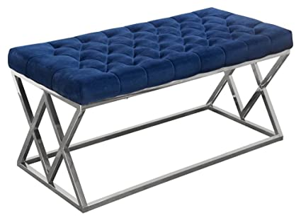 Diamond Sofa Vixen Accent Bench In Navy Blue