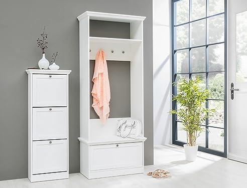 Garderobenset Landström 140 Weiß Garderobe Schuhschrank Flur Diele  Landhausmöbel