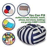 Large Size - Stuffed Animal Storage Bean Bag Chair | Finest Storage & Organizer like Hammock for Plush, Jumbo & Cuddly Toys | Premium Quality Cotton Canvas | Free E-Book (Blue-Black/White Striped)