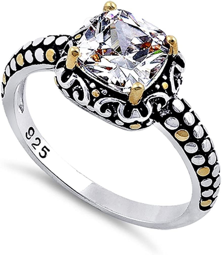 Sterling Silver Yellow Overlay Cable Designed Cushion Cut Amethyst Ring